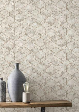 Tapet geometric argintiu Rasch colectia Home Design cod 649642 - Tapet bucatarie