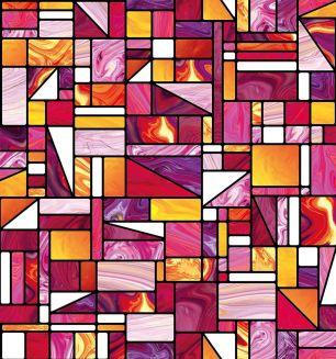 Folie d-c-fix electrostatica pentru sticla model vitraliu geometric cod 338-8140 - Folii decorative la bucata