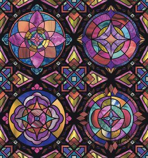 Folie d-c-fix electrostatica pentru sticla model vitraliu geometric cod 338-8142 - Folii decorative la bucata