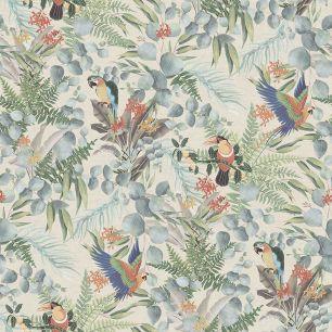Tapet tropical, cu papagali colectia Lemuria cod 6521 - Tapet bucatarie
