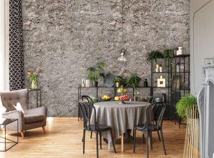 Fototapet beton cu efect 3D colectia Passion For Materials cod INK7400 - Tapet piatra-lemn-beton