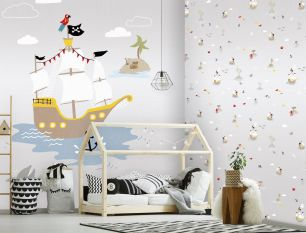 Fototapet copii pirati colectia Kate & Andy cod INK7466 - Tapet camera copii