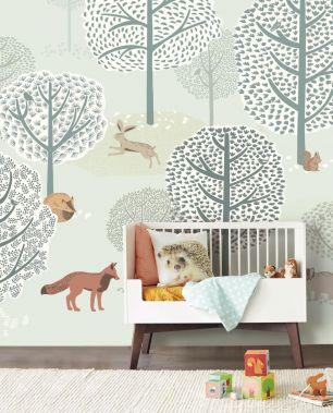 Tapet copii cu animale Eijffinger colectia Mini Me panel cod 399116 - Tapet gradinite