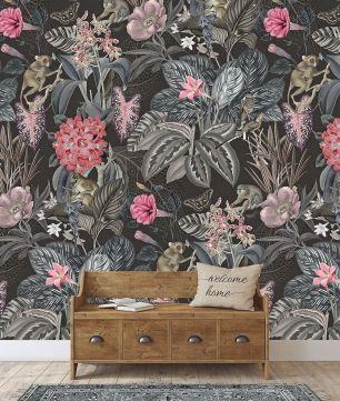 Fototapet floral jungle maimute colectia Select.D cod TD4134 - Tapet urban