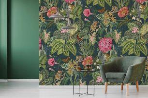 Fototapet floral jungle maimute colectia Select.D cod TD4112 - Tapet floral
